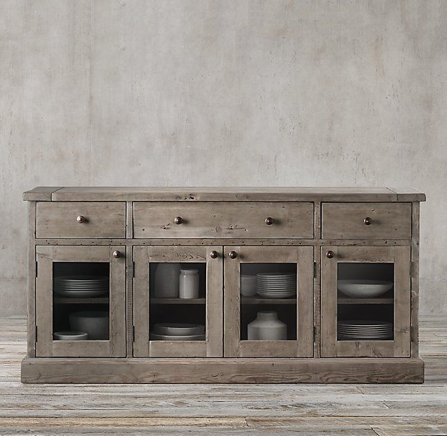 Beau Salvaged Wood Glass Dining Sideboard In Salvaged Grey, From Restoration  Hardware