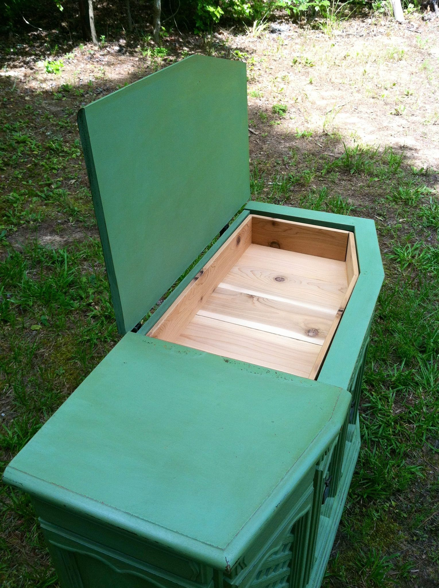 Repurposed vintage console stereo cabinet converted to cedar chest ...