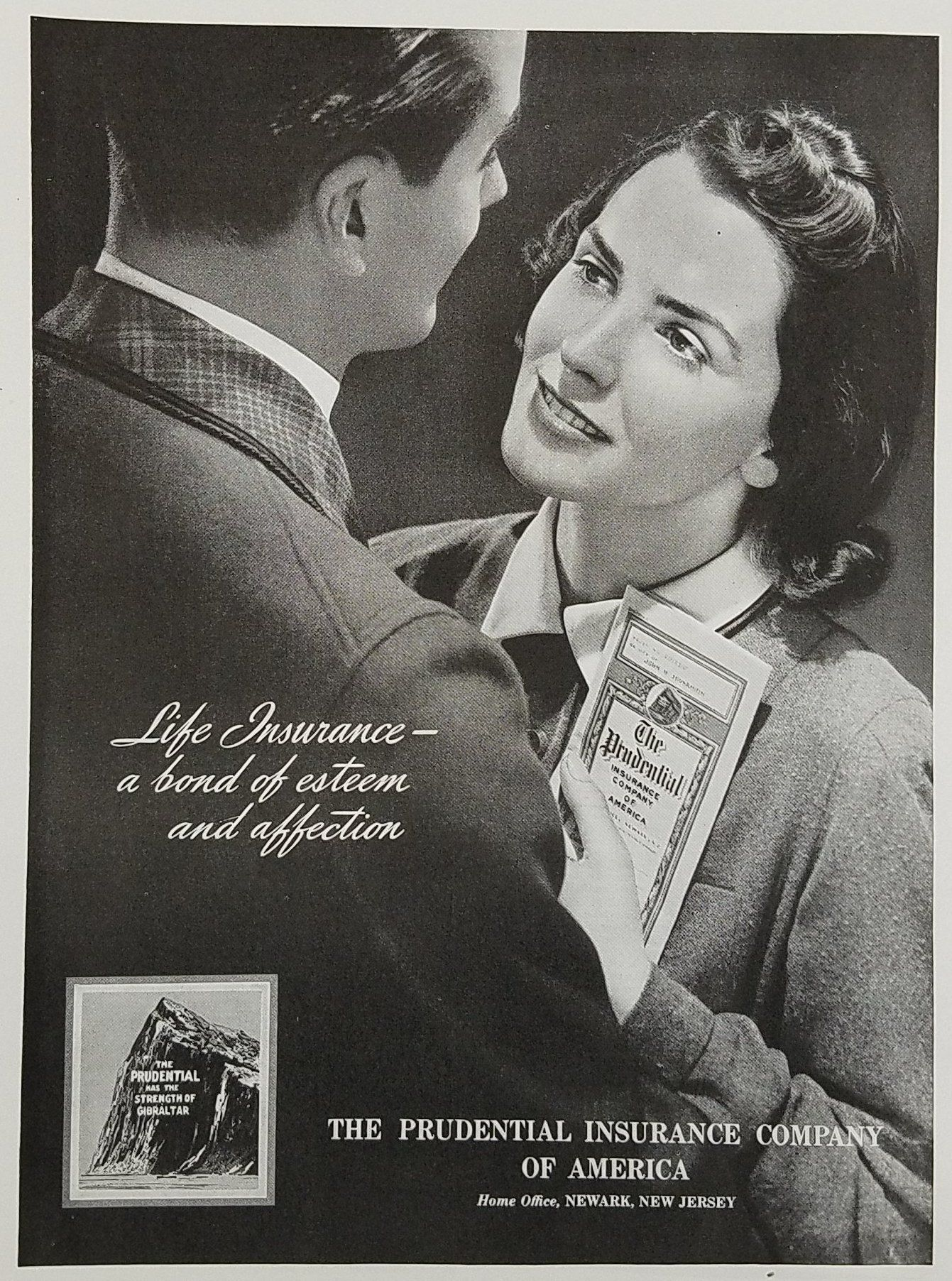 1939 Prudential Insurance Company Vintage Ad Couple Gazing At