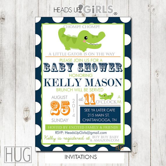 Set Of 12 Personalized Navy Lime Green Alligator Baby Shower Invitations In Blue