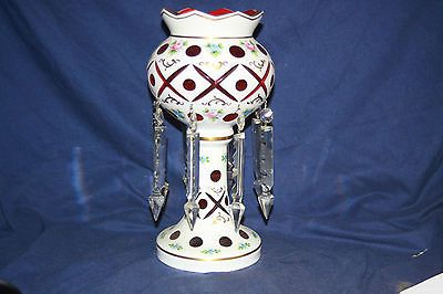 Bohemian Czech Glass Cranberry White Cut to Red Mantle Lustre Luster 13 Inches   eBay