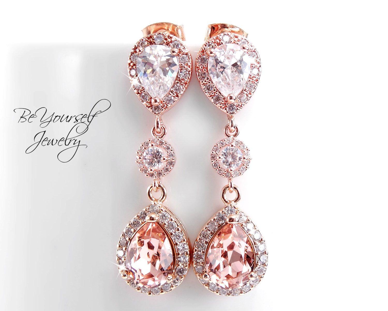 Blush bridal earrings soft pink teardrop bride earrings