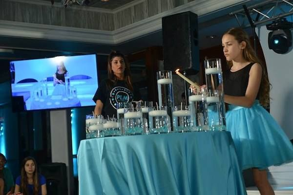Turquoise Blue Bat Mitzvah Candle Lighting With Vases Of