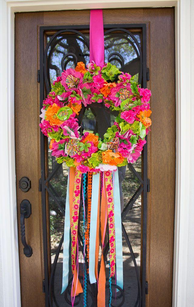 Fiesta Wreath Ribbon Wreath Diy Diy Wreath Crafts