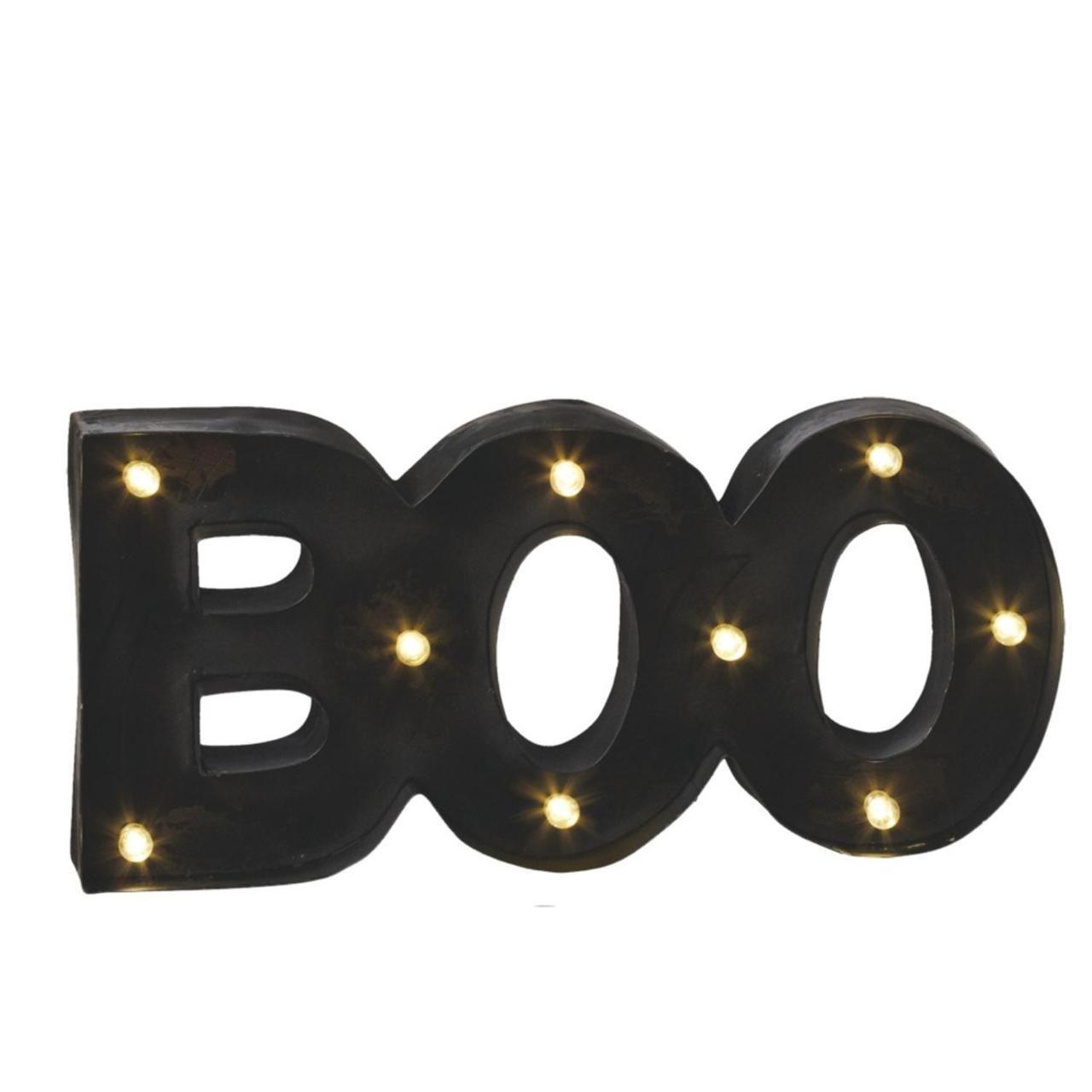 "Black LED Lighted ""BOO"" Halloween Wall Decor 8"" X 17.25"