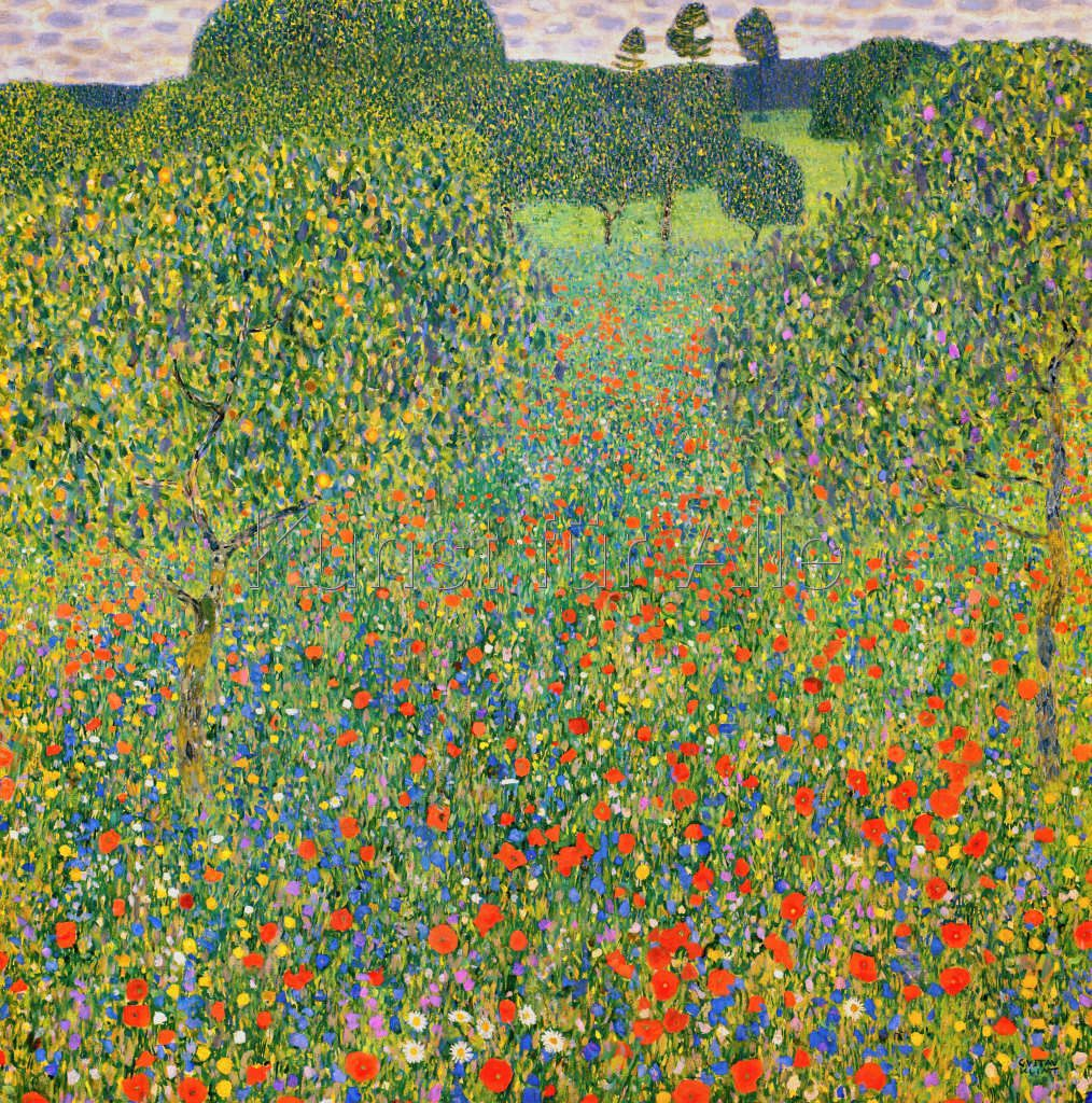 Gustav Klimt Mohnwiese Kunstdruck Leinwandbild Gerahmtes Bild Glasbild In 2020 Jugendstil Malerei Klimt Kunstdruck