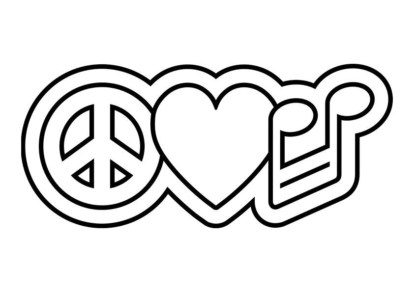 Peace Love Music Coloring Pages This is <3
