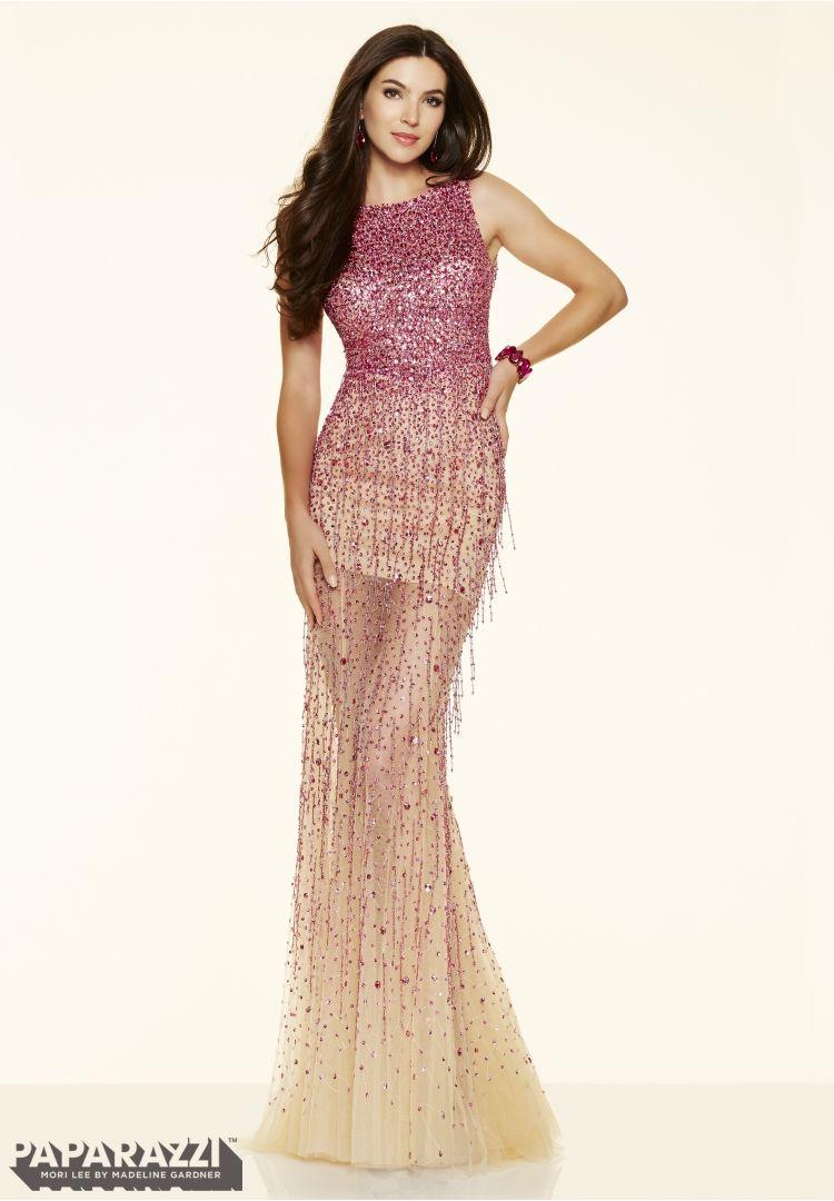 Prom dress fringe beaded net hot pink prom dresses
