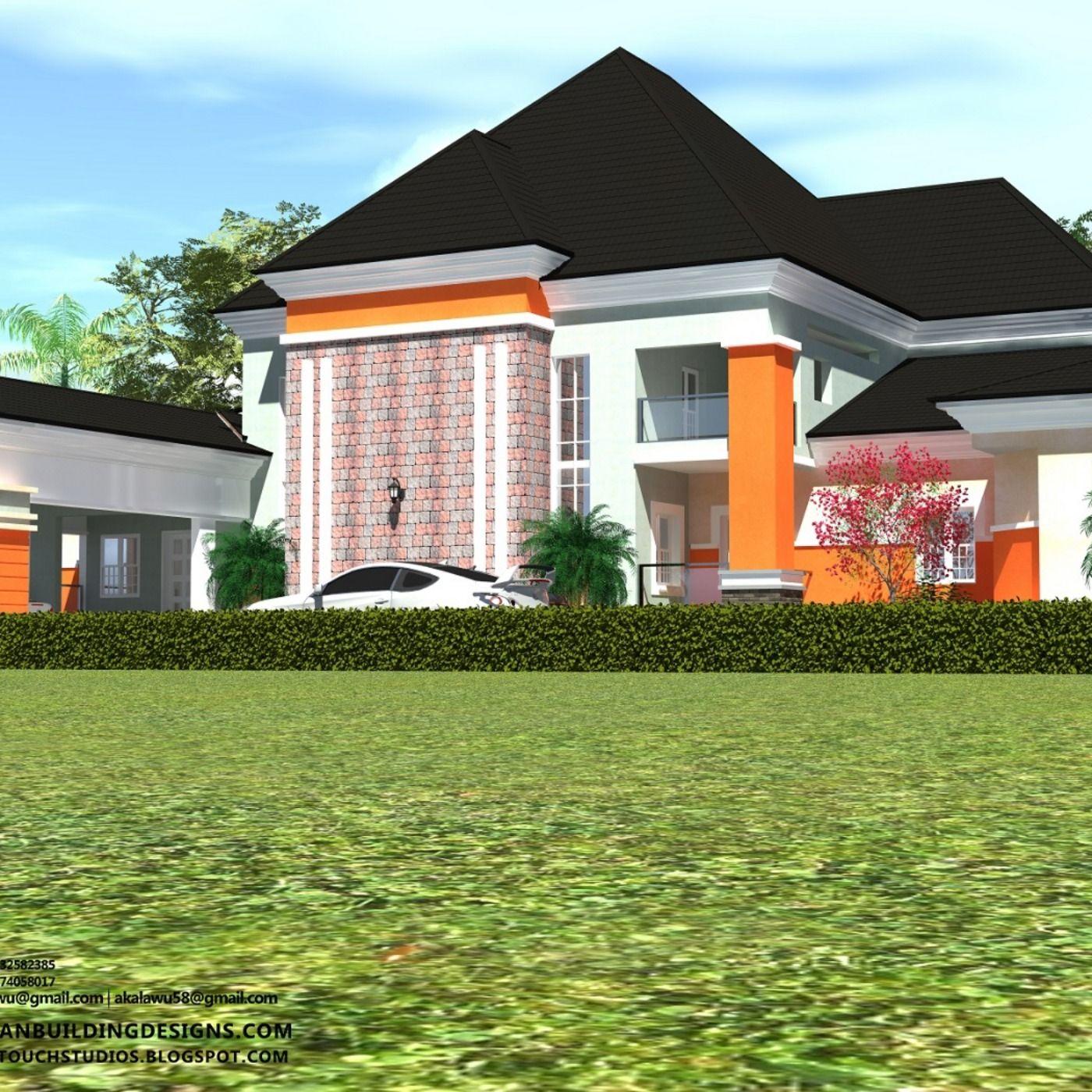 5 Bedroom Beautiful Bungalow With Pent Floor Bungalow House Design Flat Roof House Duplex House Design