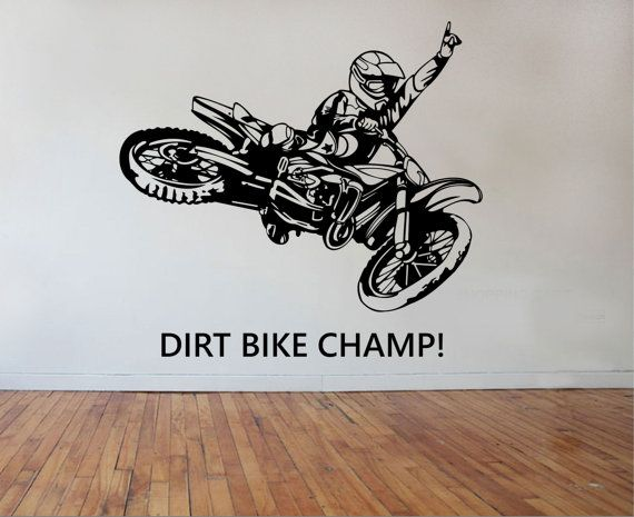 Dirt Bike Wall Decal CHAMPION Sticker Art Decor Bedroom Design Mural