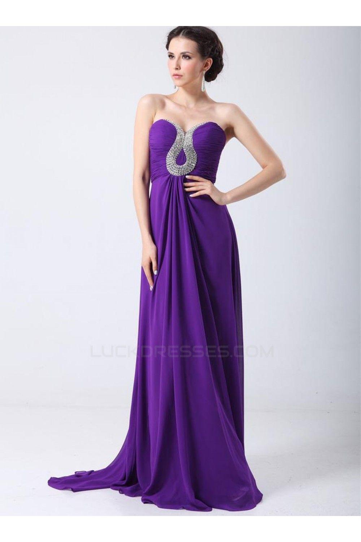 Sheathcolumn sweetheart beaded long purple chiffon prom evening