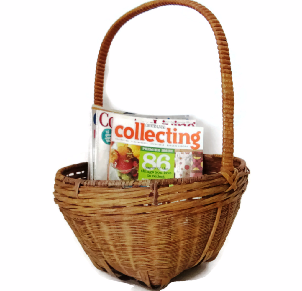 Vintage American gathering basket, handled (c 1900s)