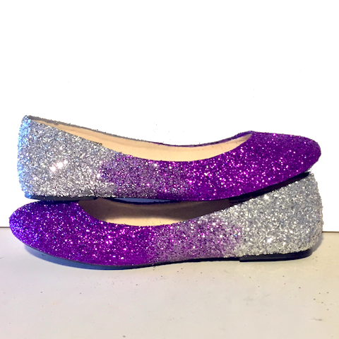 4bfab1c79bc8 Women s Sparkly Purple Silver Ombre Glitter Ballet Flats Wedding Bride  Bridesmaid Shoes