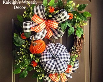 Photo of Farmhouse wreath, rustic wreath, lamb ear wreath, buffalo check decor, cotton wreath, farmhouse decor, lavender wreath, welcome wreath