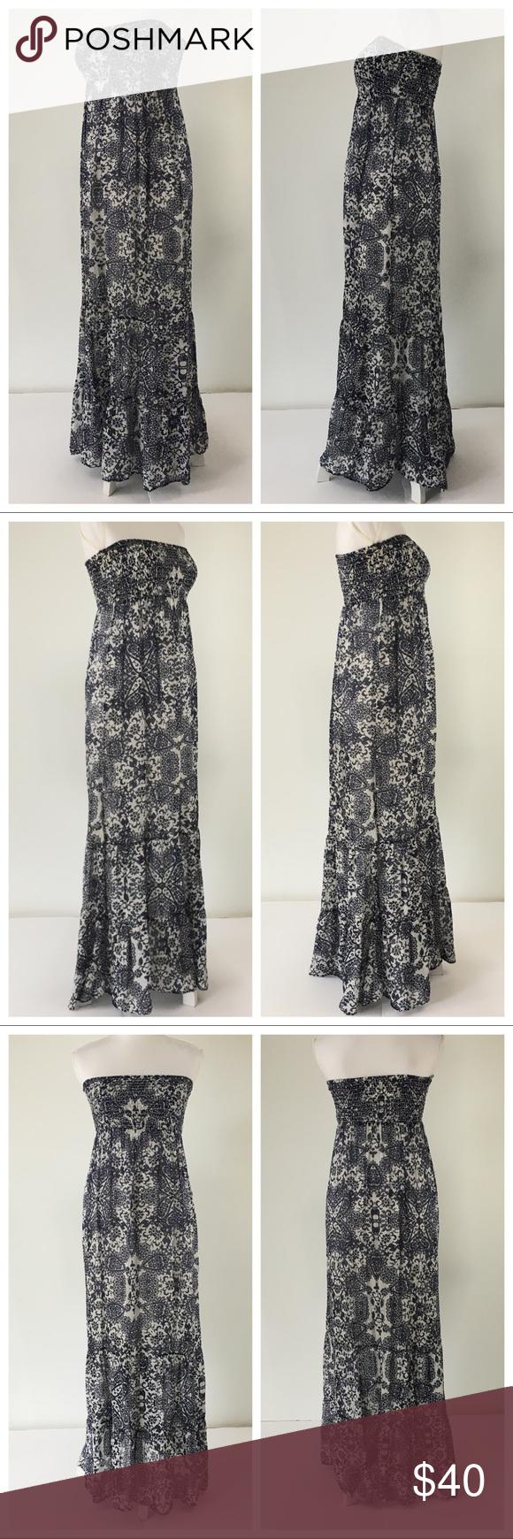 18230f9821 Guess silk maxi dress strapless blue white print M