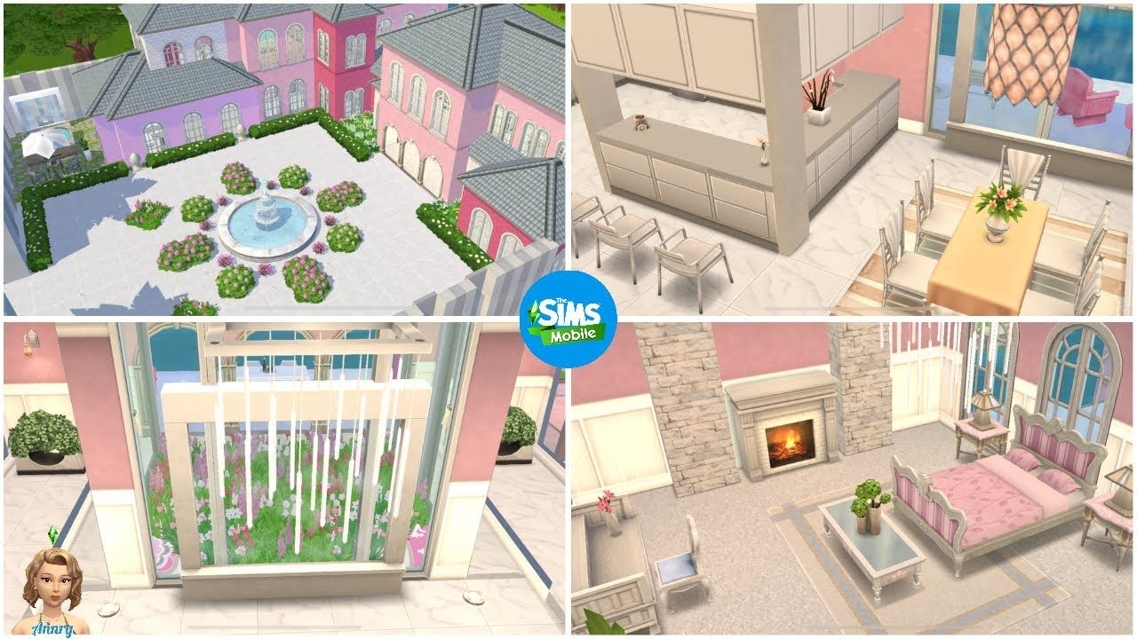 The Sims Mobile Barbie Dreamhouse Inspired Design Lots Of Pink Diy Walls Using Columns Youtube Sims House Design Barbie Dream House Sims