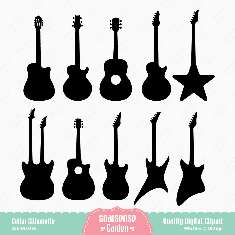 Guitar Silhouette Digital Clipart By Ssgarden On Etsy Festa De Rock Festa Musical Festa Rock
