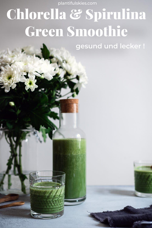 Chlorella und Spirulina Smoothie. Gesundes Algen Rezept. Mit Chlorella Algen und Spirulina Algen. zum Abnehmen, Stärken , Entgiften. Hol dir das Smoothie Rezept! #happymoodfood ##algen