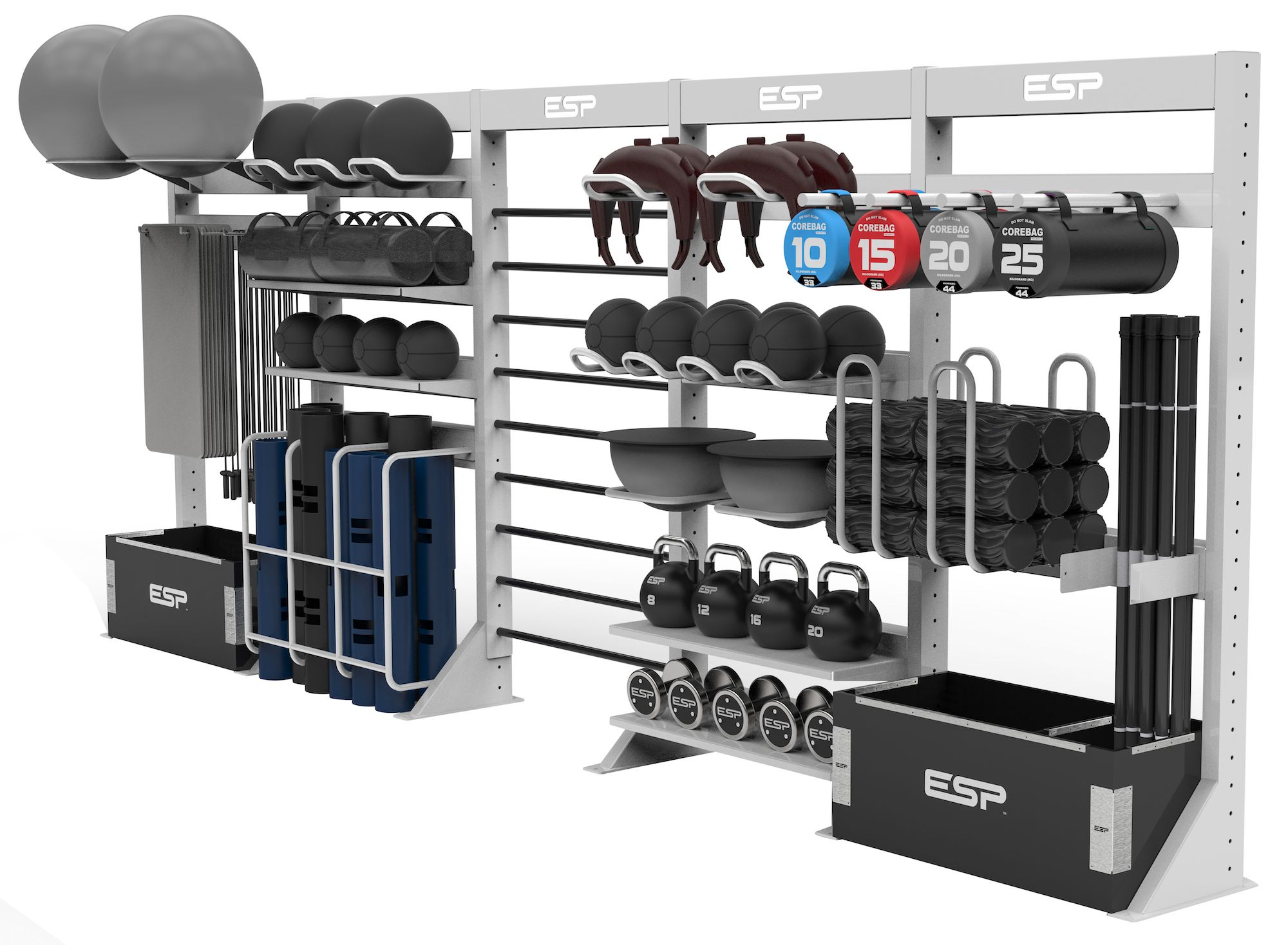 Modular storage in fitness equipment for my future gym