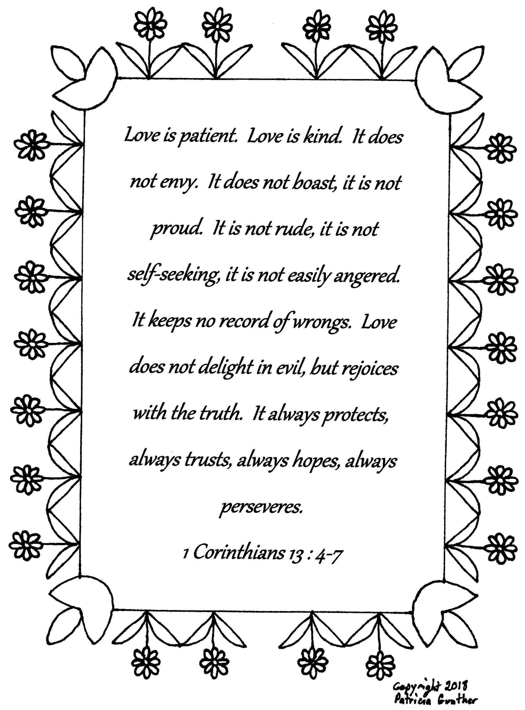 1 Corinthians 13 4 7 Bible Art Coloring Pages For Boys