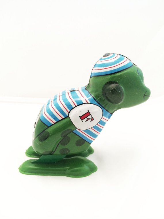 8fb03927f360 Vintage Yone Japan Jumping Frog Wind Up Tin Toy