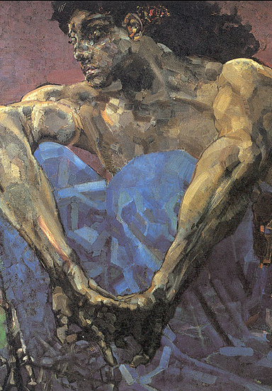 Mikhail Vrubel, Demon seated in a garden.