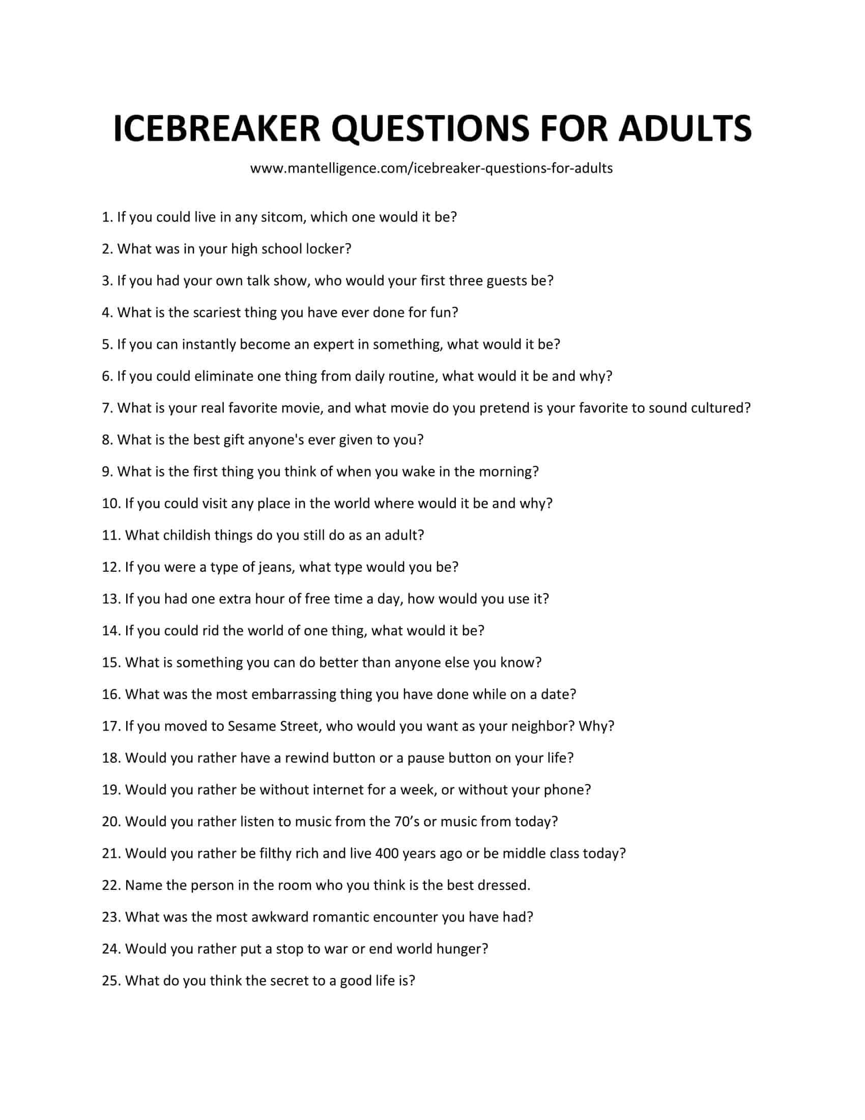 63 Icebreaker Questions For Adults Fun And Unexpected