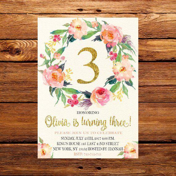 Third Birthday Invites 3rd Invitation Girls Three Year Old Flower