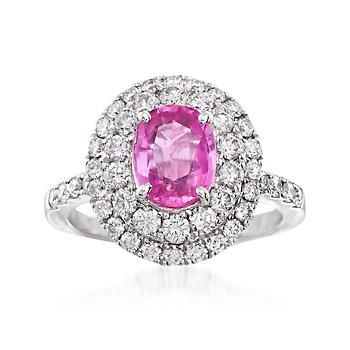 Ross-Simons - 1.70 Carat Pink Sapphire and 1.20 ct. t.w. Diamond Ring in 18kt White Gold - #864663