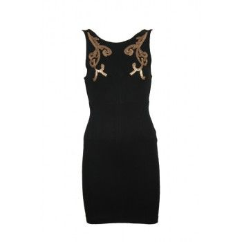 It is time to class up your wardrobe with this beautiful black dress. The dress has a sleeveless model with a slim fit so the focus will be on our perfect figure. Steal the show! Check out those golden colored details on the top. Wear with on of our festive clutches and wear your hair up in a classy chignon for the complete look!  www.2dayslook.com