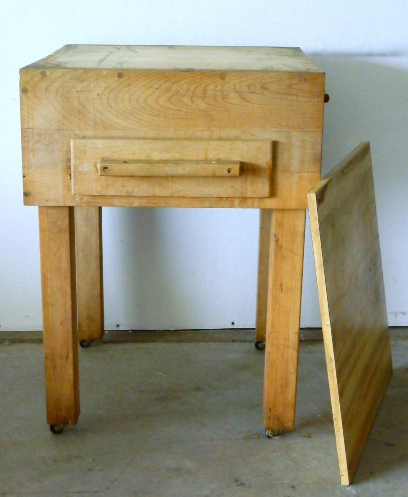 For Sale: Vintage Wood Butcher Block Table 2 Pullouts Cutting Boards Knife  Holder Food Meat