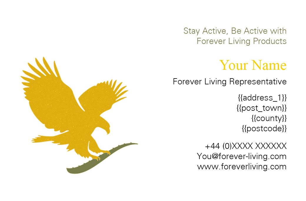 Client Forever Living Business Card (front) created by me at Nic's