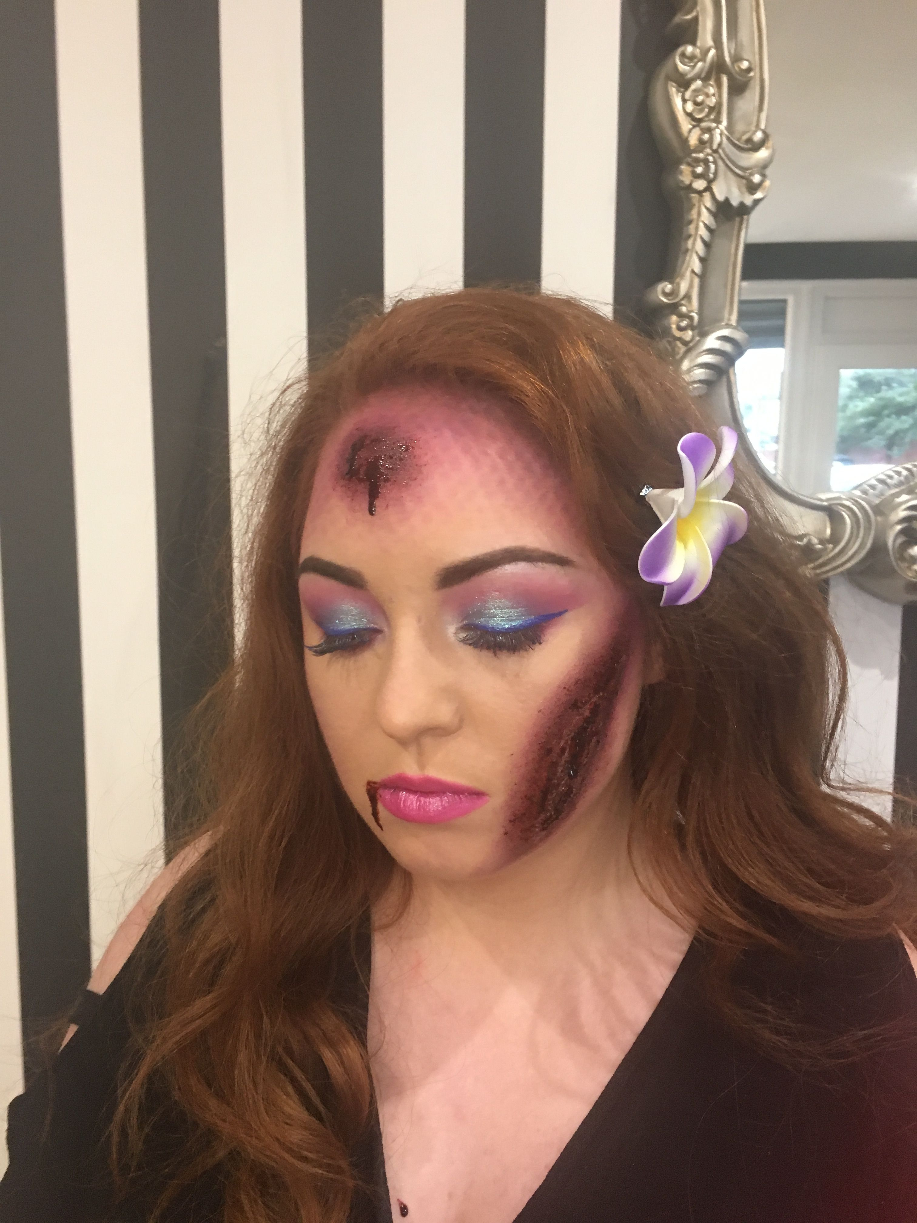 mermaid makeup. special effects cuts and scars. halloween ideas