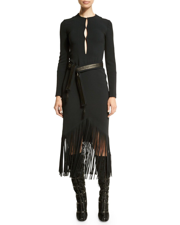 Longsleeve fringehem belted dress black if you have to get up