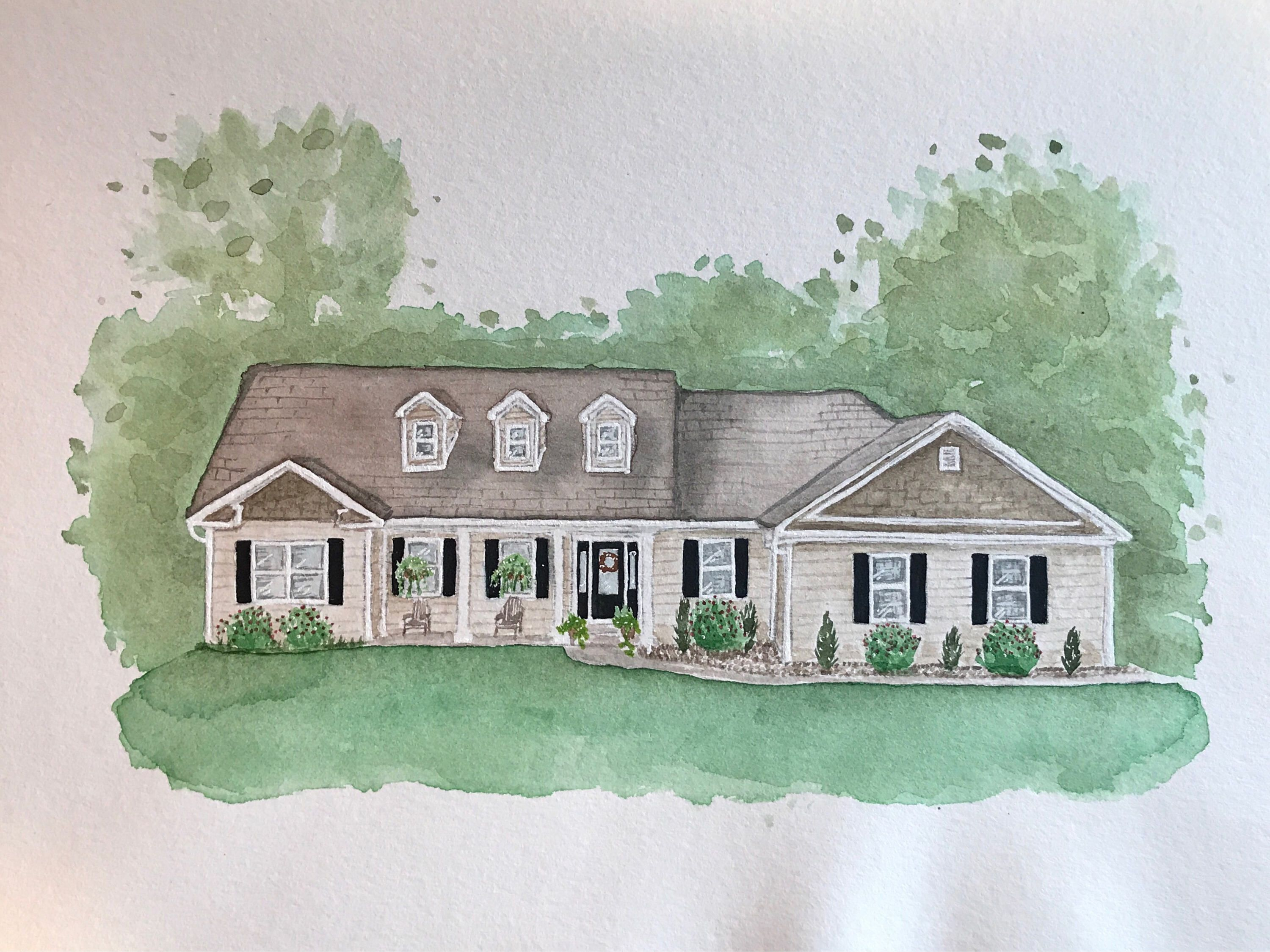 Etsy Shop Custom Watercolor House Portrait Watercolor Home