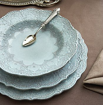 Beautiful Merletto Aqua Dinnerware inspired by handmade, antique Italian lace and handmade in Italy.