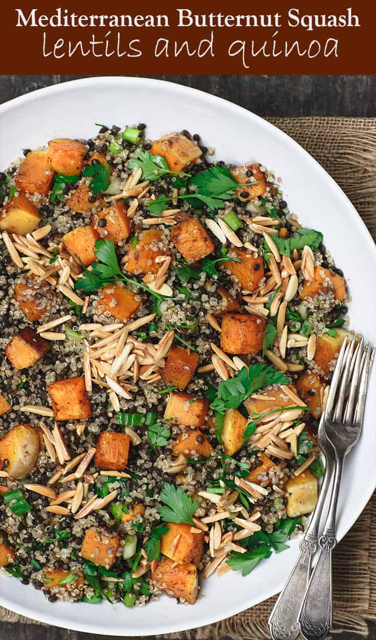 Easy Roasted Butternut Squash Recipe with Lentils and Quinoa | The Mediterranean Dish. A satisfying