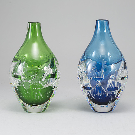 Helen Krantz Two Glass Vases Orrefors Sweden Signed And Dated 2000 Scandinavian Art Glass Vases In 2020 Art Glass Vase Glass Art Glass Vase