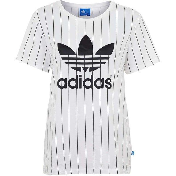 6b57fd4e7 Trefoil Tennis Tee by Adidas Originals ($40) ❤ liked on Polyvore featuring  tops, t-shirts, topshop, white cotton tee, adidas trefoil t shirt, trefoil  tee ...