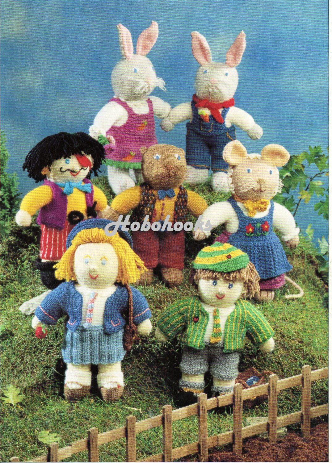 Knitted toys school children pirate bunnies mouse by Hobohooks
