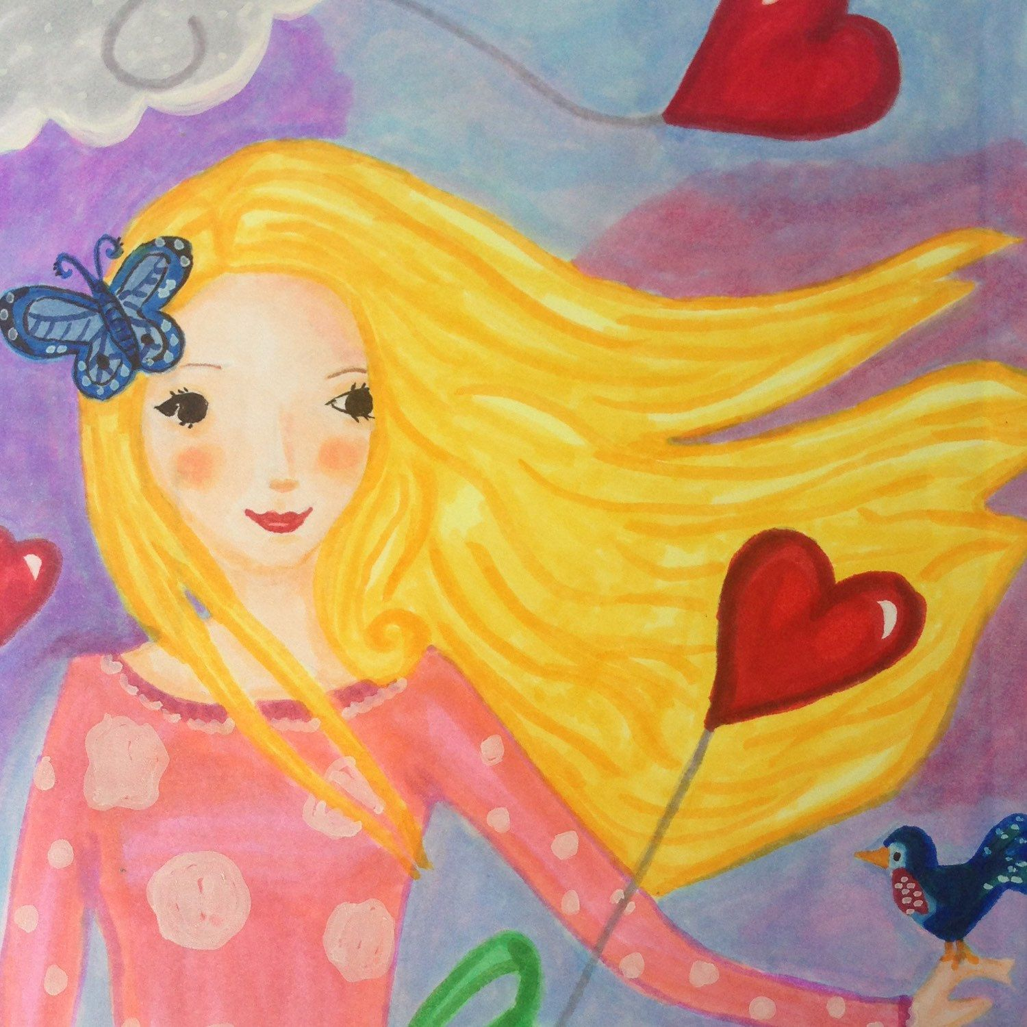 Illustration #postcard #girl #balloons #colorful drawing