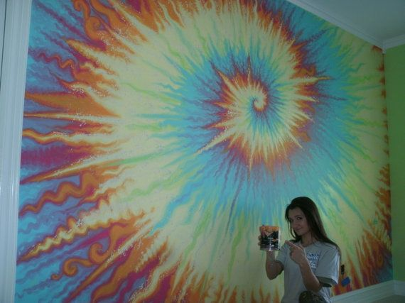 Items similar to Tie Dye inspired fresco rainbow wall mural  custom hand  painted child s kids room wall painting  Free Estimates in Chicago    Suburbs on. Tie Dye Bedroom Wallpaper Mural from DigetexHOME com   Home Decor
