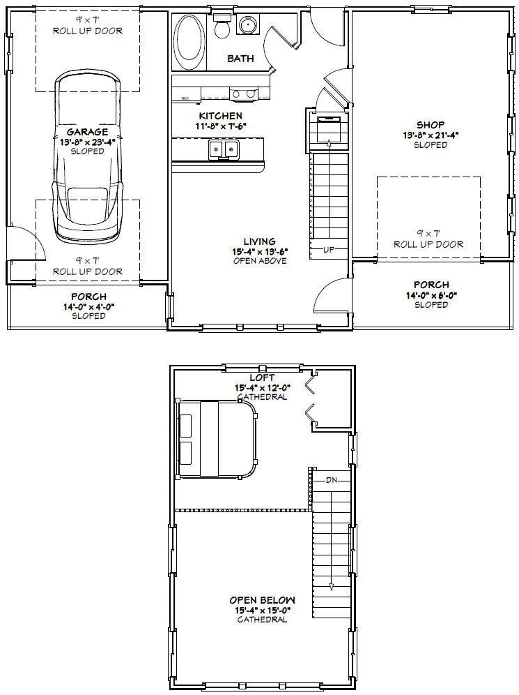 44x28 House 44x28h1a 602 Sq Ft Excellent Floor Plans Floor Plans Garage Plans With Loft Garage House Plans
