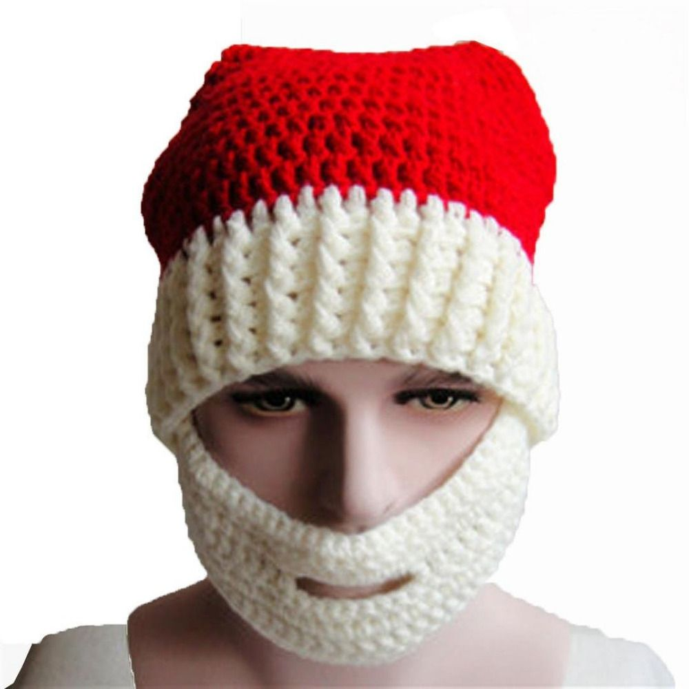 35090f218cb Knitting Warm Ear Santa Hat Knit Winter Christmas Hats with Mustache and Beard  White
