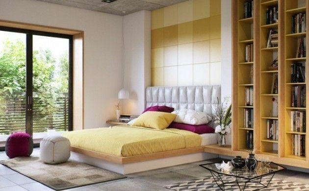 Ideen Für Wandgestaltung Schlafzimmer Gestalten Akzentwand Lila Elemente  Dekoideen