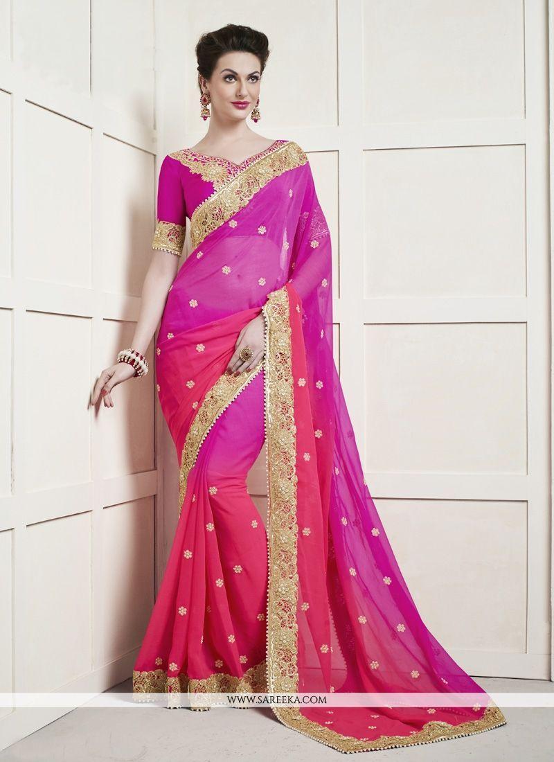 Saree blouse design patch work hot pink patch border work faux chiffon shaded saree  saree hot