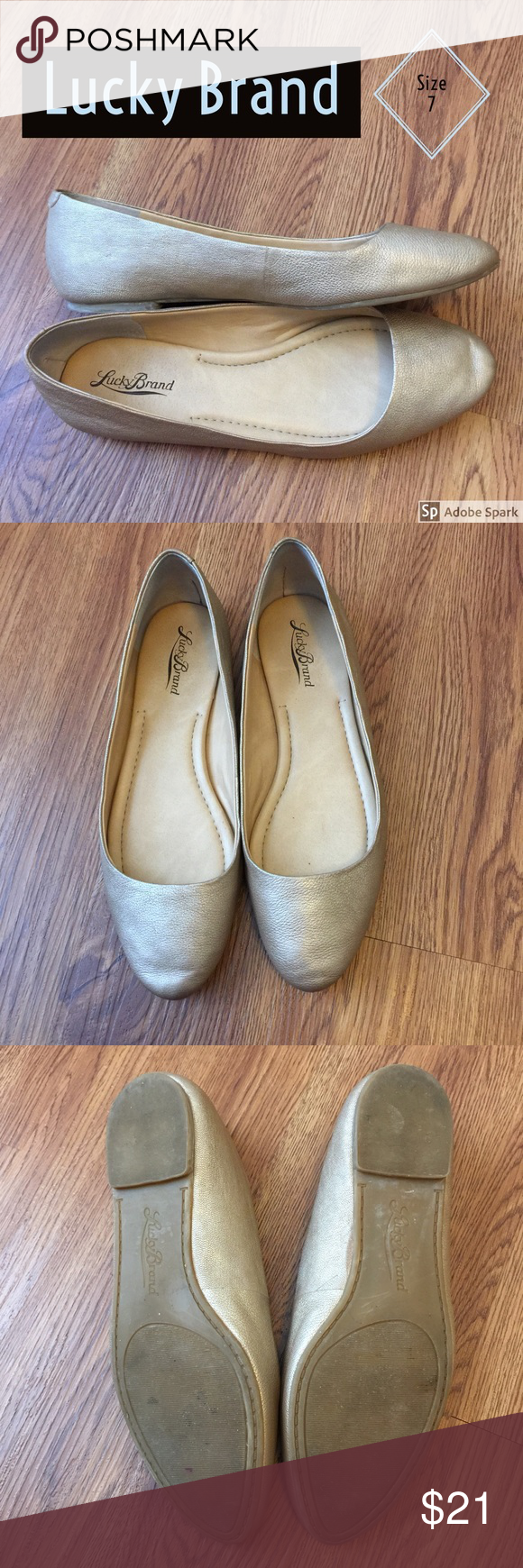 Lucky Brand Gold Flats Size 7 EUC Lucky Brand Gold Flats Size 7, in excellent used condition! The bottoms of these shoes show some wear, but the rest of these shoes are nearly new! Very cute shoes that would go with many outfits! I am happy to answer questions or provide measurements upon request! Lucky Brand Shoes Flats & Loafers