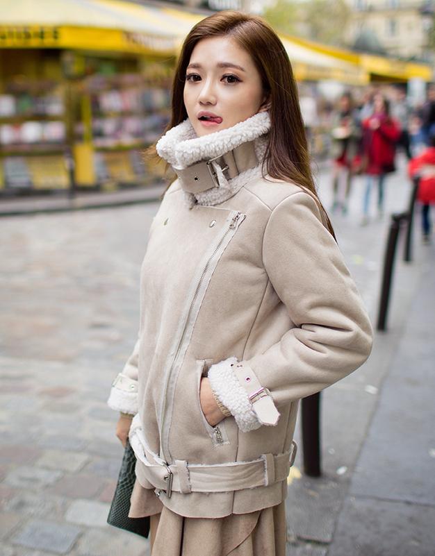 Shearling Trimmed Biker Jacket  #womenfashion #koreanstyle #chuu
