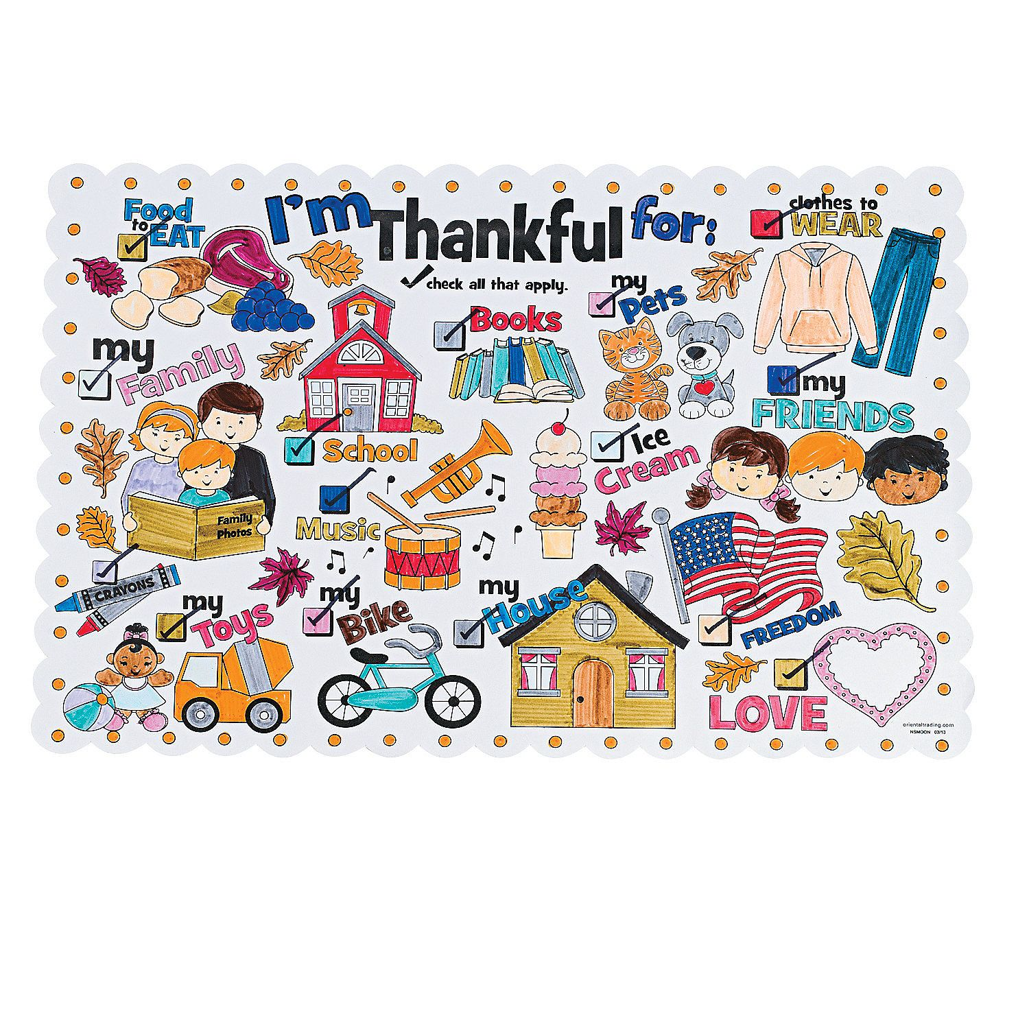 Color Your Own I M Thankful For Thanksgiving Place Mats Thanksgiving Placemats Placemats Bible Crafts