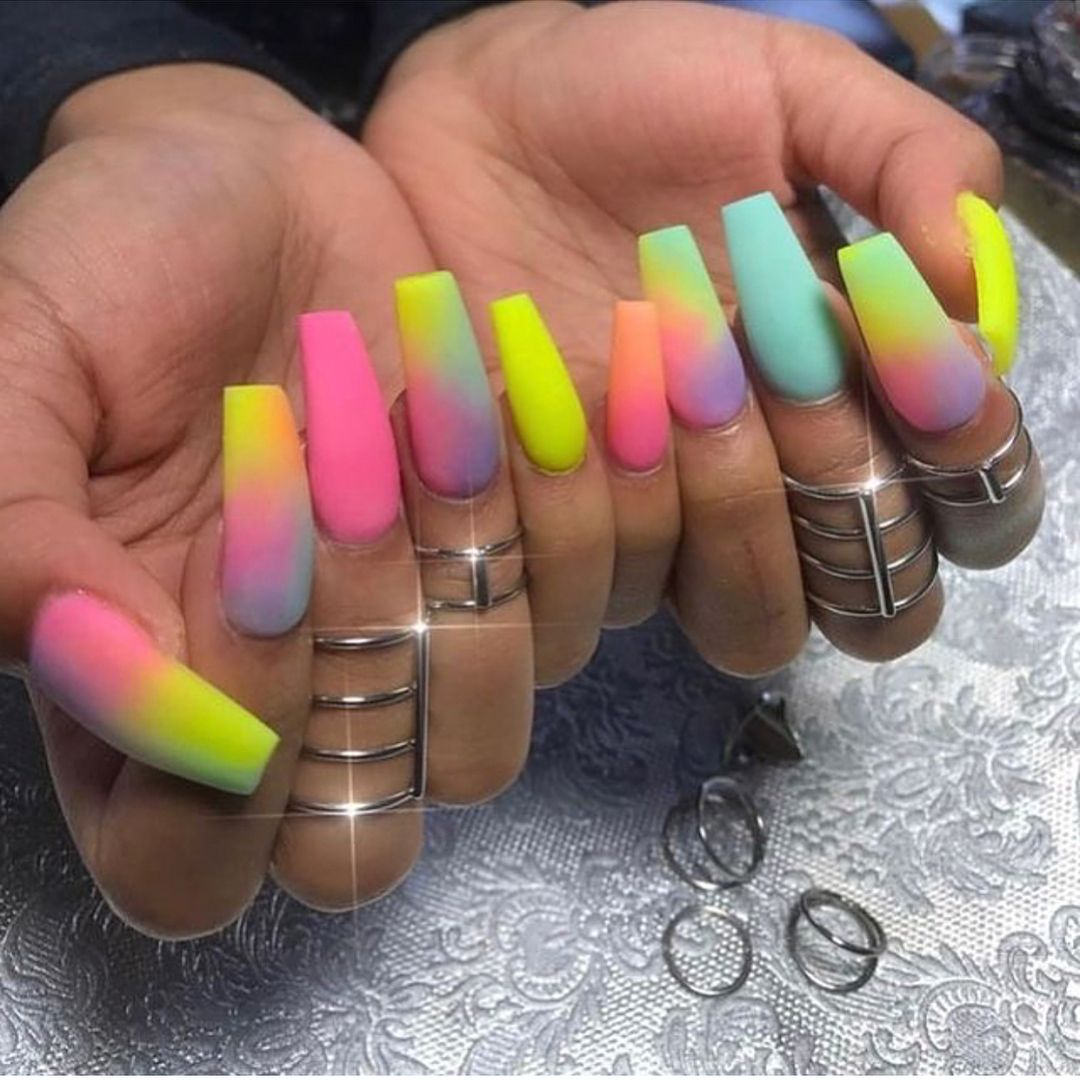 Summer Vibes Follow Me For More Myassjuciyyyy Nails Trending Ombrenails Fashion Summer Vibes Explore L Rainbow Nails Long Square Nails Luxury Nails